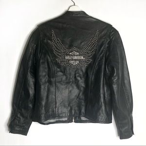 Harley Davidson Black Leather Studded Ride Jacket